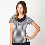 Navy striped crochet trim t-shirt