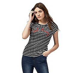 Maine New England - Navy stripe 'Sail Away' crew top