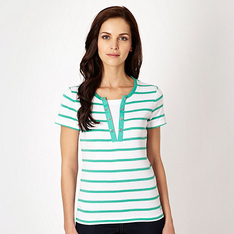 Maine New England - Green striped mock button top