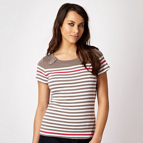 Maine New England - Taupe multi striped t-shirt with tab detail - size 20