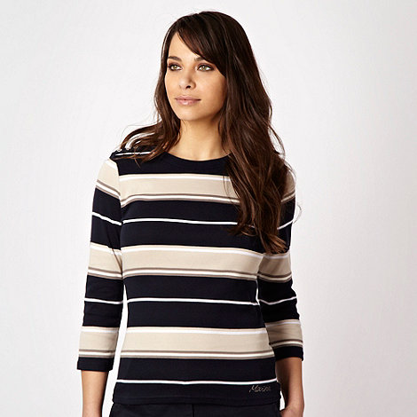 Maine New England - Navy multi striped shoulder tab top