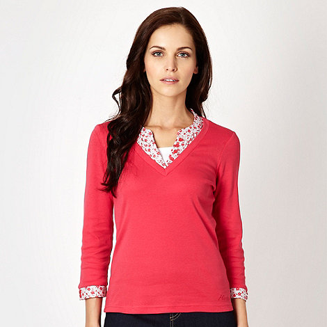 Maine New England - Dark pink mock 2 in 1 top - size 16