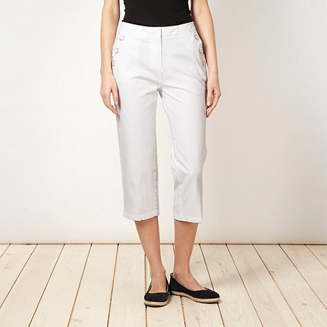 Maine New England - White cropped 2-way stretch trousers