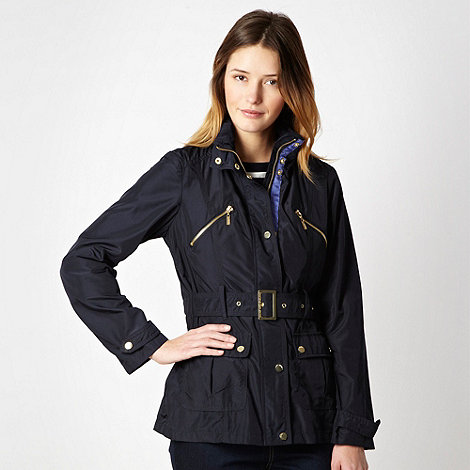 Maine New England - Navy belted funnel neck jacket