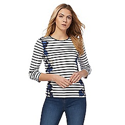 Maine New England - Navy striped floral print top