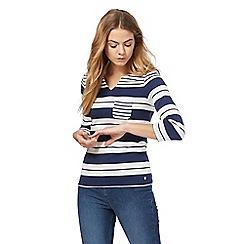 Maine New England - Dark blue striped print top