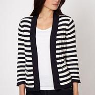 Navy striped cable knit cardigan