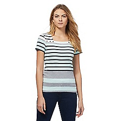Maine New England - Light green striped square neck top