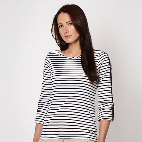 Maine New England - Black striped roll sleeve top - size 20