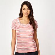 Light orange striped ruffled scoop neck top