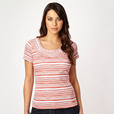 Maine New England - Light orange striped ruffled scoop neck top