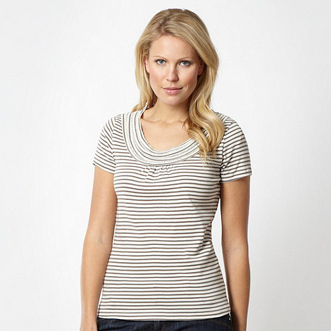 Maine New England - Taupe horizontal stripe t-shirt - size 22