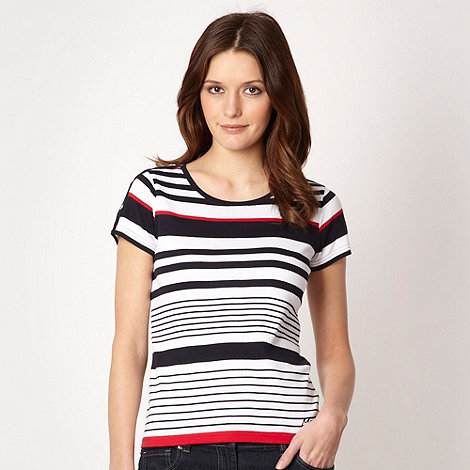 Maine New England - Navy striped studded trim t-shirt