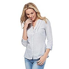 Maine New England - Blue linen blend lace shirt