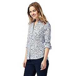 Maine New England - Blue ditsy floral print shirt