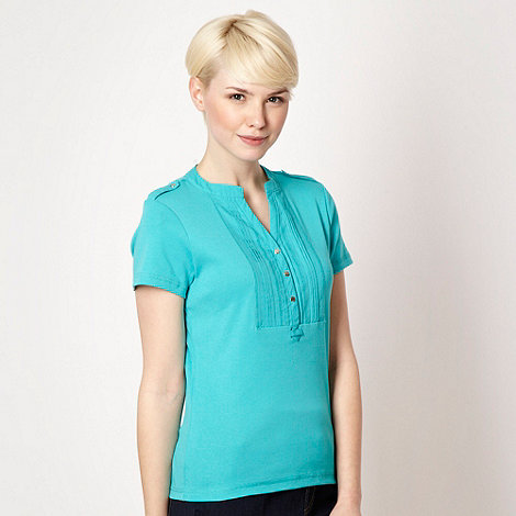 Maine New England - Turquoise pleated long placket t-shirt - size 22