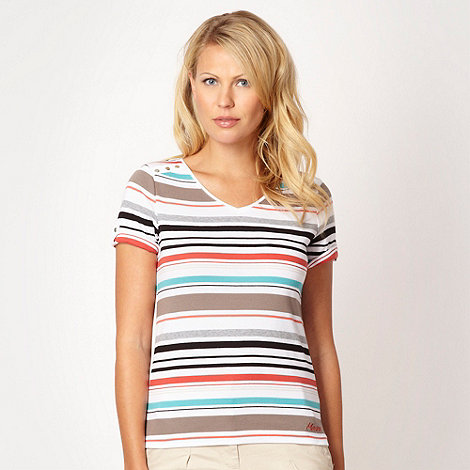 Maine New England - White striped button shoulder t-shirt
