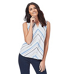 Maine New England - Blue sleeveless linen blend striped top