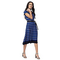 Maine New England - Blue striped print jersey dress
