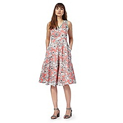 Maine New England - Peach floral print v-neck knee length tea dress