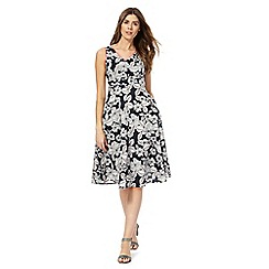 Maine New England - Navy leaf print V-neck dress