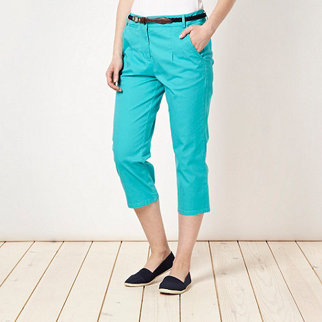 Maine New England - Turquoise belted cropped chinos - size 10