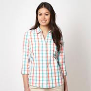 Turquoise checked roll up sleeve shirt