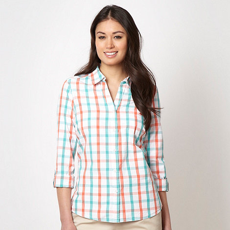 Maine New England - Turquoise checked roll up sleeve shirt