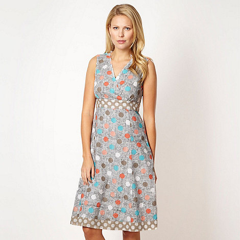 Maine New England - Dark cream spot print dress