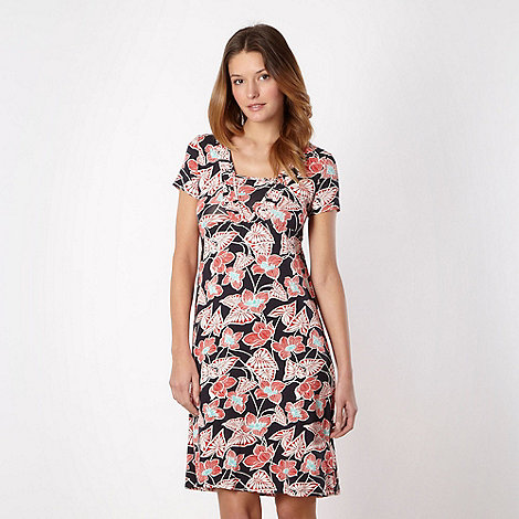 Maine New England - Navy jersey floral dress