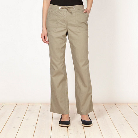 Maine New England - Khaki plain linen blend trousers