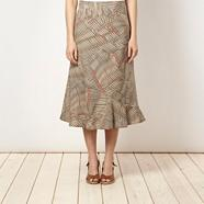 Khaki patterned linen blend skirt