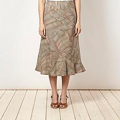 Maine New England - Khaki patterned linen blend skirt