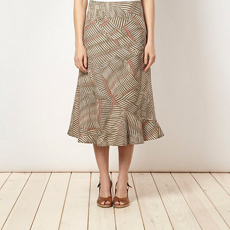 Maine New England - Khaki patterned linen blend skirt