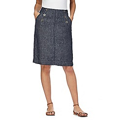 Maine New England - Dark blue chambray linen skirt