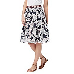 Maine New England - Navy pleated patterned skirt