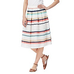Maine New England - Multi-coloured pleated stripe print skirt