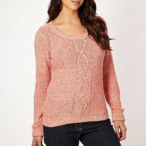 Maine New England - Light orange spacedye cable knit jumper