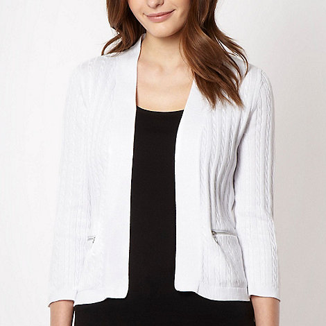 Maine New England - White cable knitted cardigan - size 10