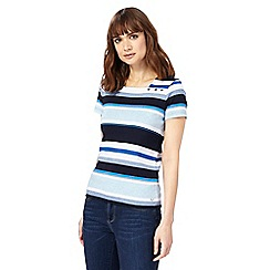 Maine New England - Blue and navy striped square neck top