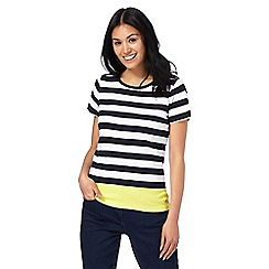Maine New England - Navy striped colour block top