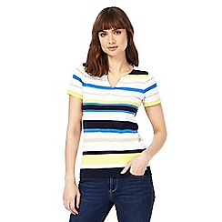 Maine New England - White striped notch neck top
