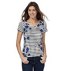 Maine New England - Navy striped print scoop top