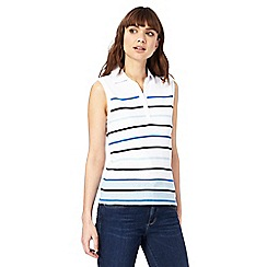 Maine New England - White and blue striped sleeveless polo top