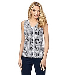 Maine New England - Navy and white printed sleeveless top