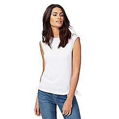 Maine New England - White Broderie Anglaise yoke hem tie top