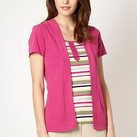 Maine New England - Bright pink 2-in-1 striped top and cardigan