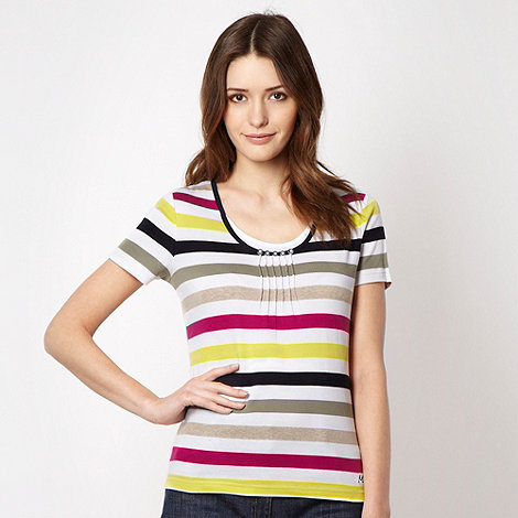 Maine New England - Bright pink striped button neck top