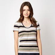Natural striped button neck top