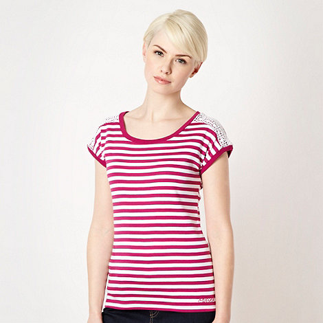 Maine New England - Dark pink striped lace shoulder top